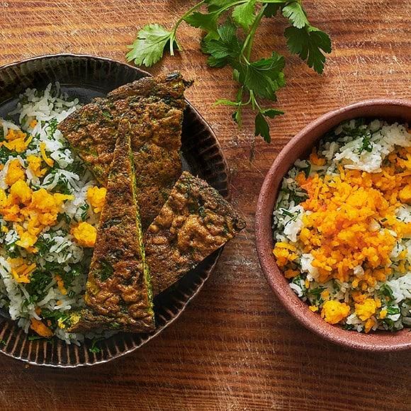 Sabzi polo med koko sabzi – örtris med persisk omelett