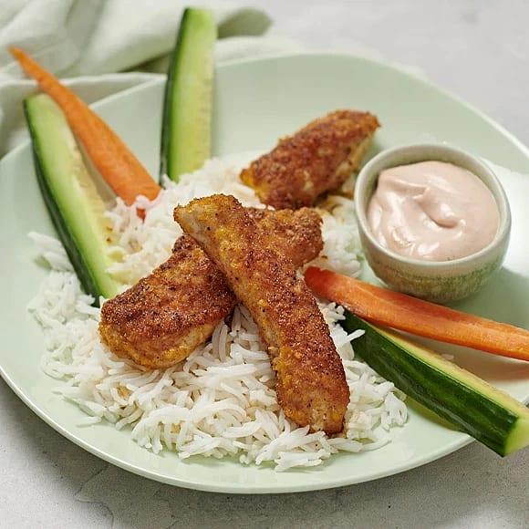 Crispy chicken med dipp och grönsaksstavar