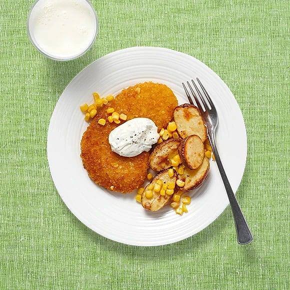 Rostad potatis och schnitzel