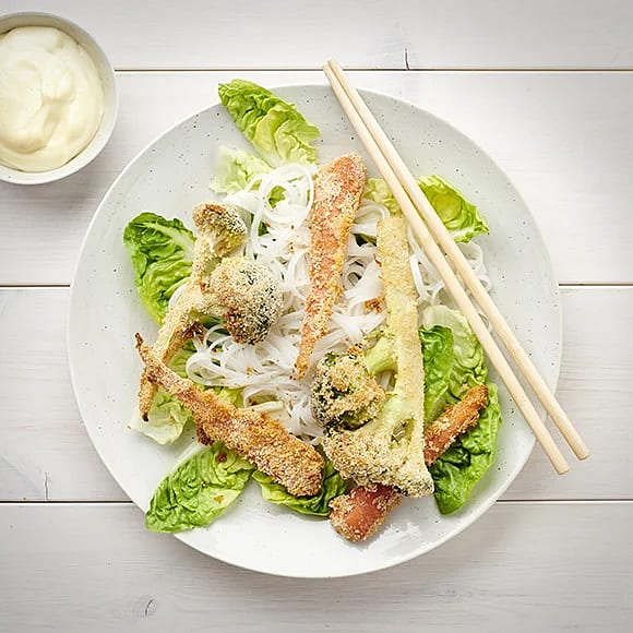 Krispig broccoli med wasabimajonnäs