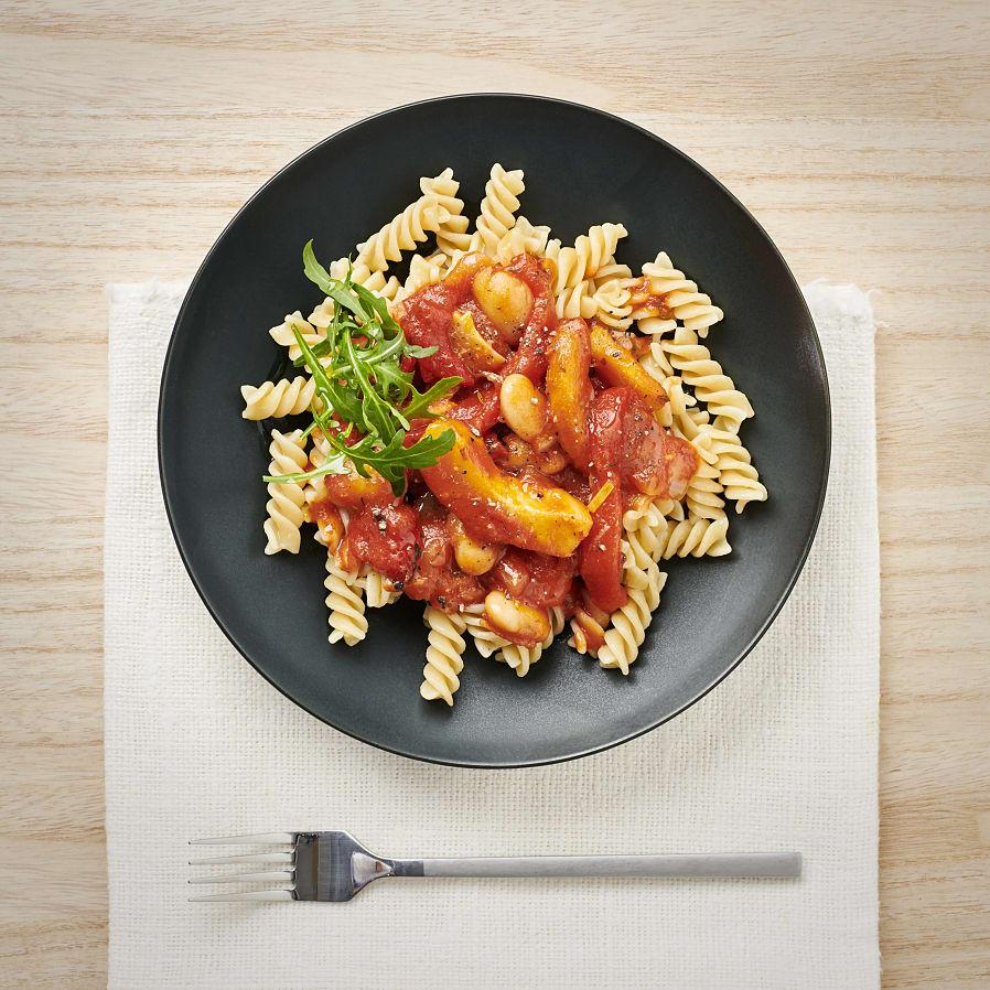 Kronärtskockor i tomatsås och ruccola
