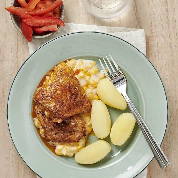 Paprikastekt torsk med krämig majs
