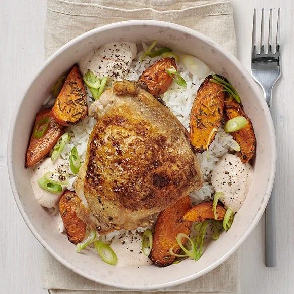 Kycklinglår och rostade morötter