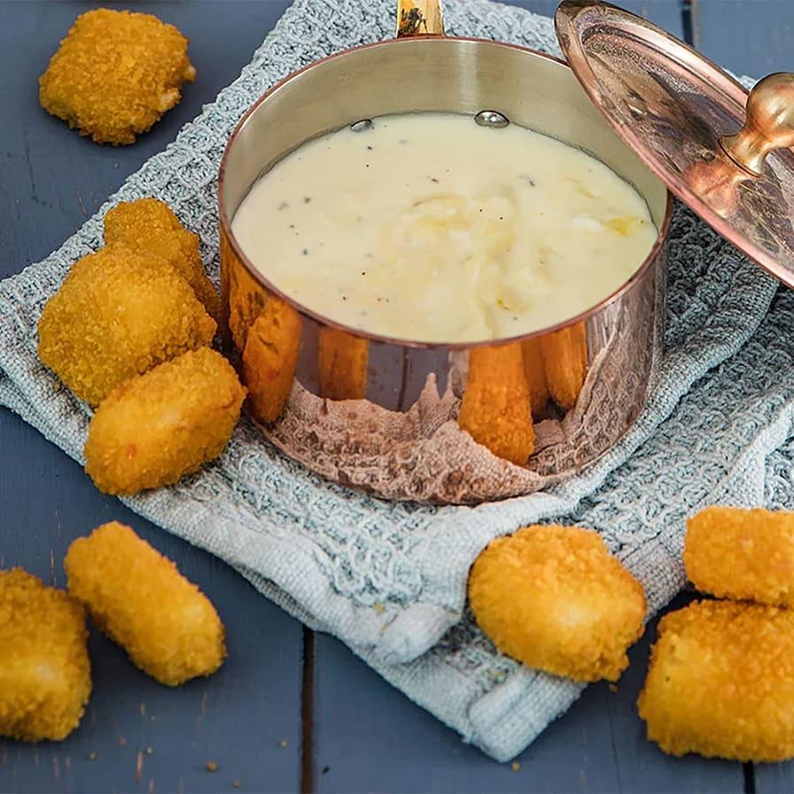 Halloumi Nuggets med bearnaisedipp på grekisk yoghurt