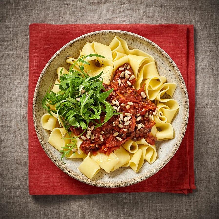 Pappardelle med tomat- och linssås