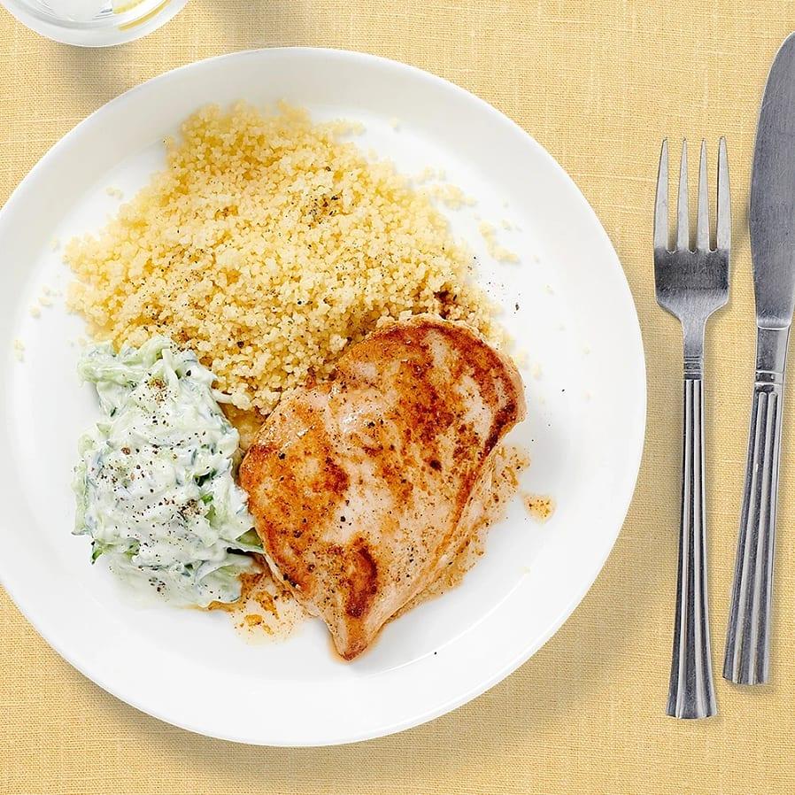 Kyckling med tzatziki och couscous