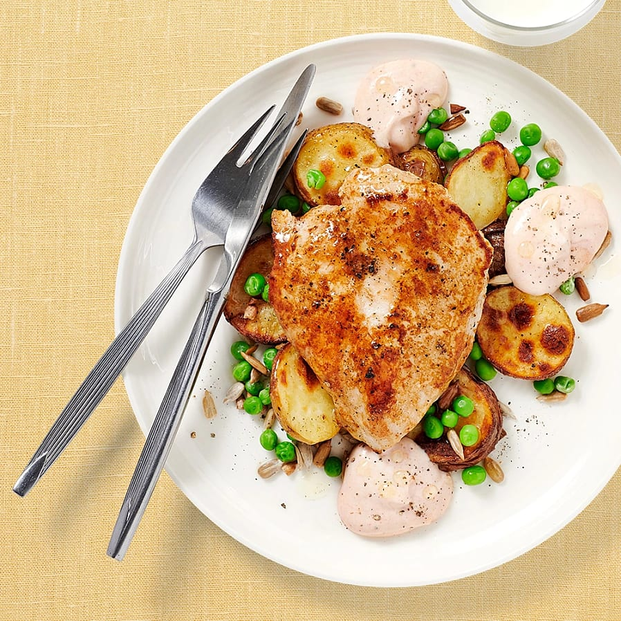 Kyckling med rostad potatis och ärter