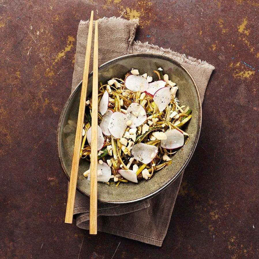Marinerad purjolök med rostade cashewnötter