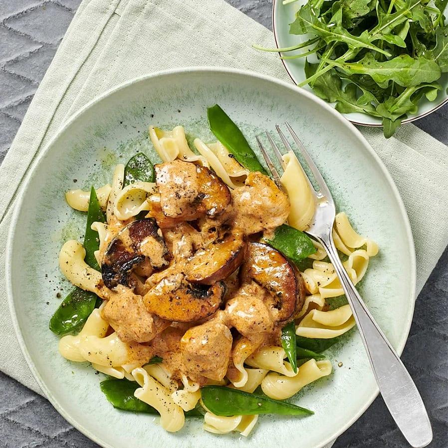 Pasta med kyckling och portabello