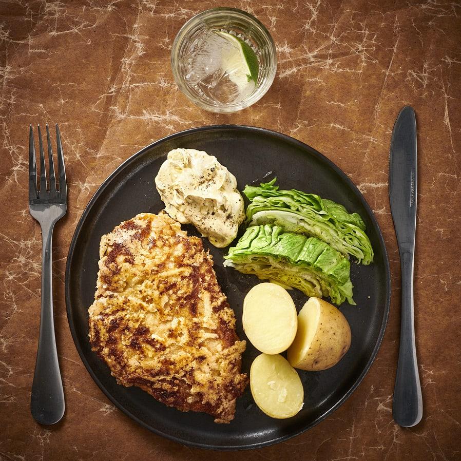 Kycklingschnitzel med currydipp
