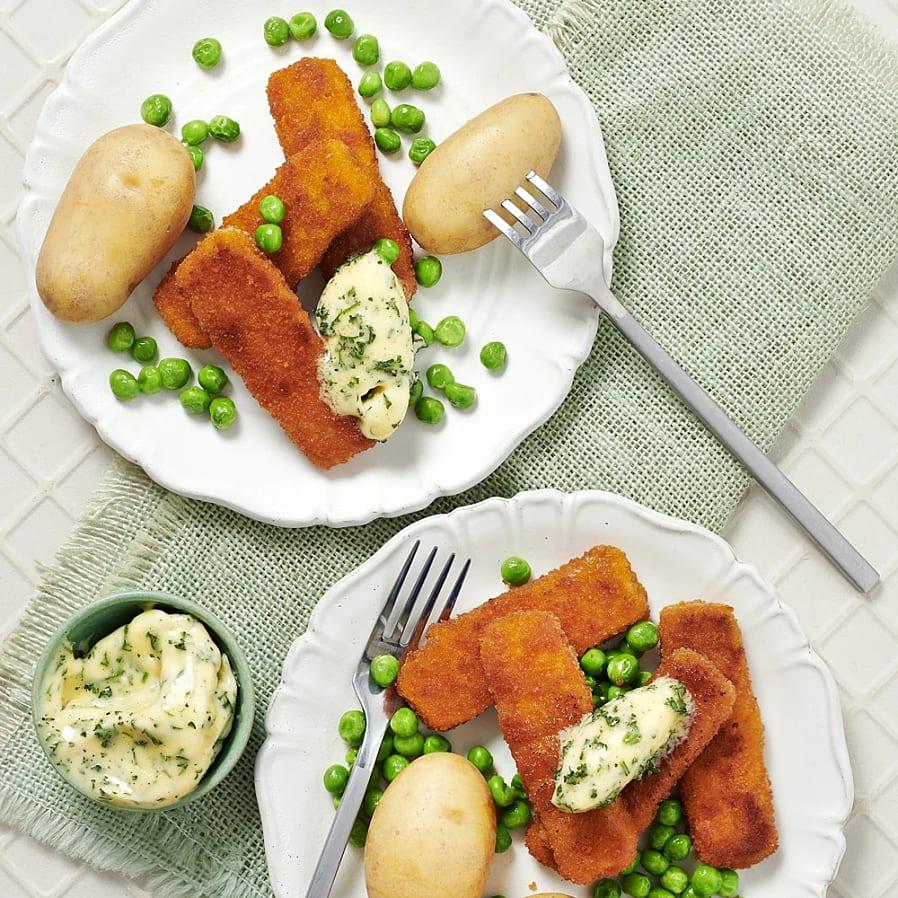 Fisk-ish med persiljesmör, ärter och potatis