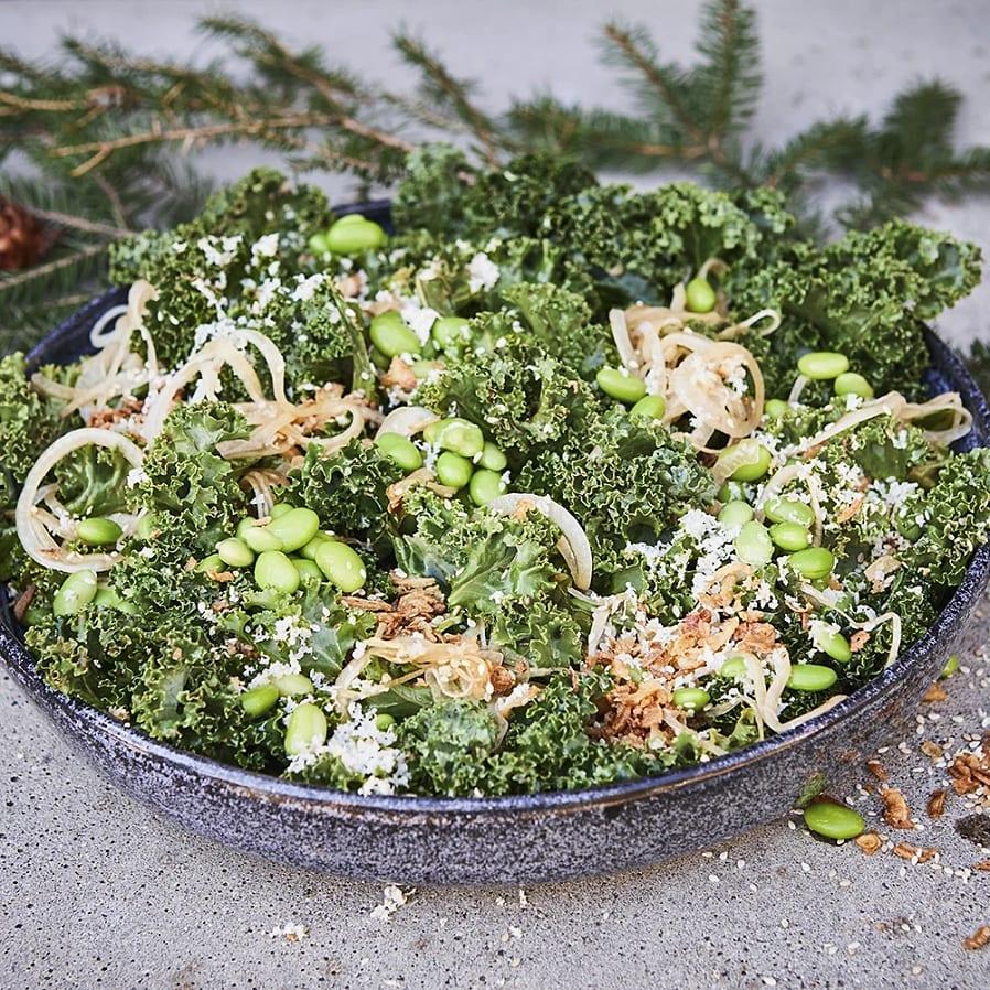 Grönkålssallad med pepparrot och yozo