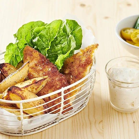 Kycklingnuggets med rostad potatis och citronmajo