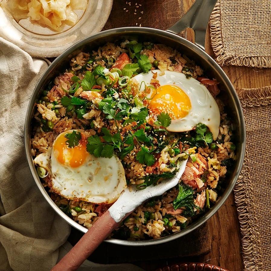 Stekt ris med lax och ingefära