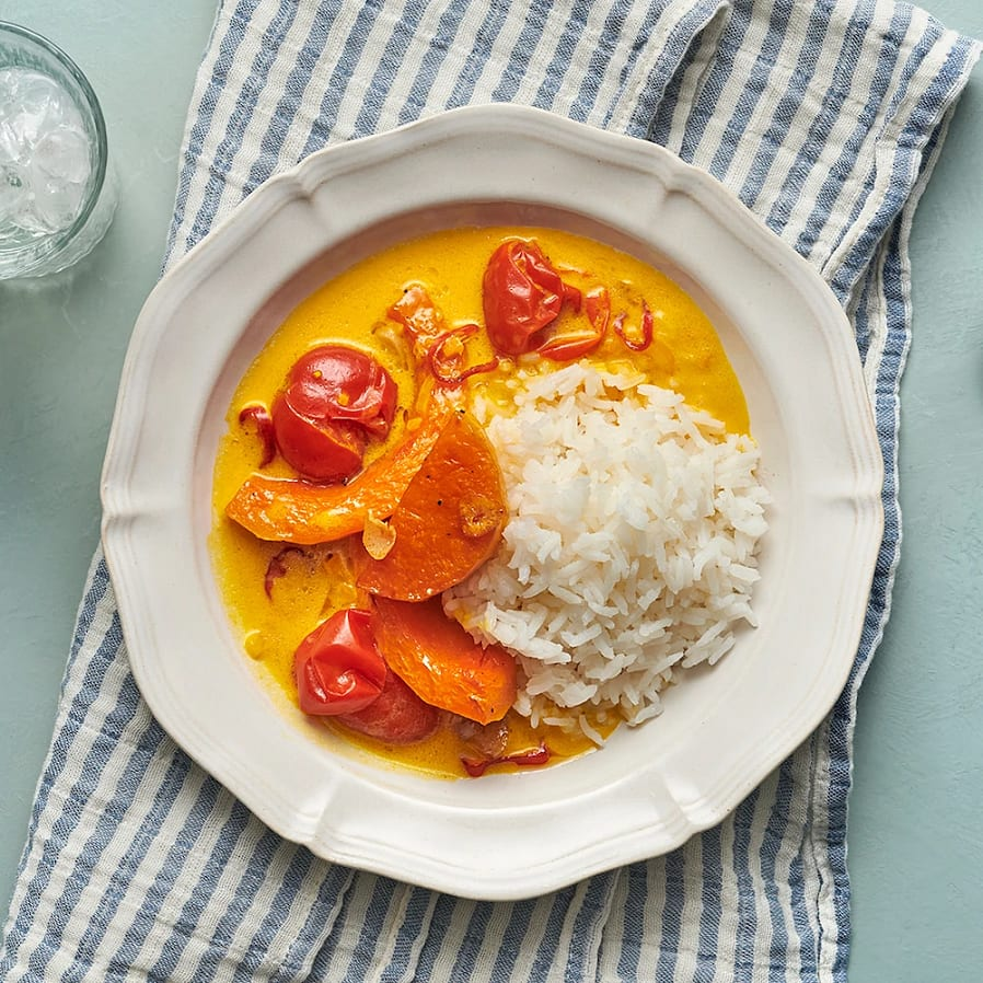 Pumpacurry med kokosmjölk och ris