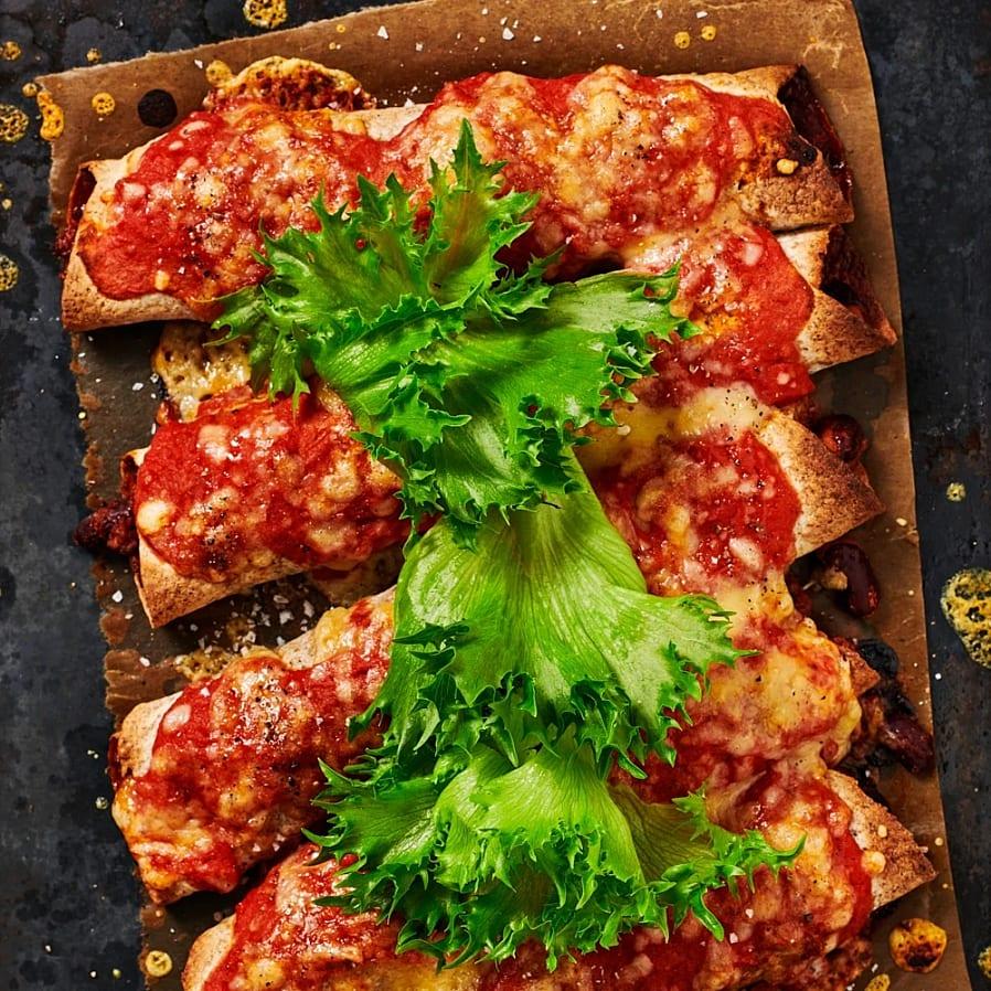 Enchiladas med rostad majsyoghurt