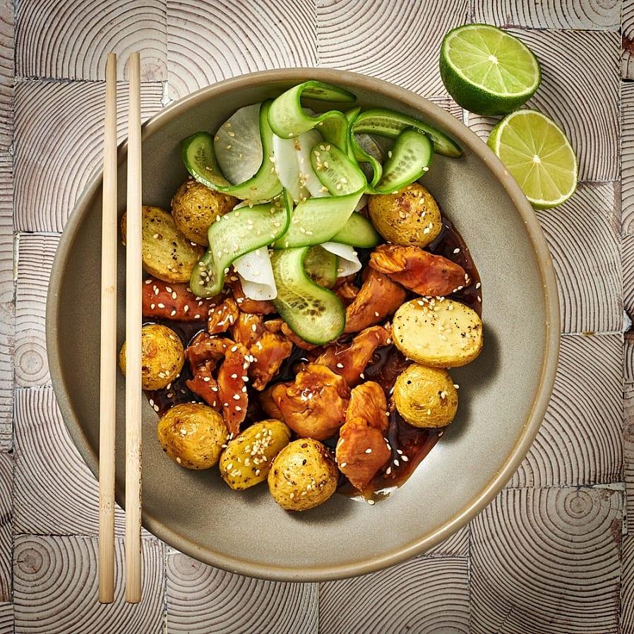 Kycklingteriyaki med sesampotatis