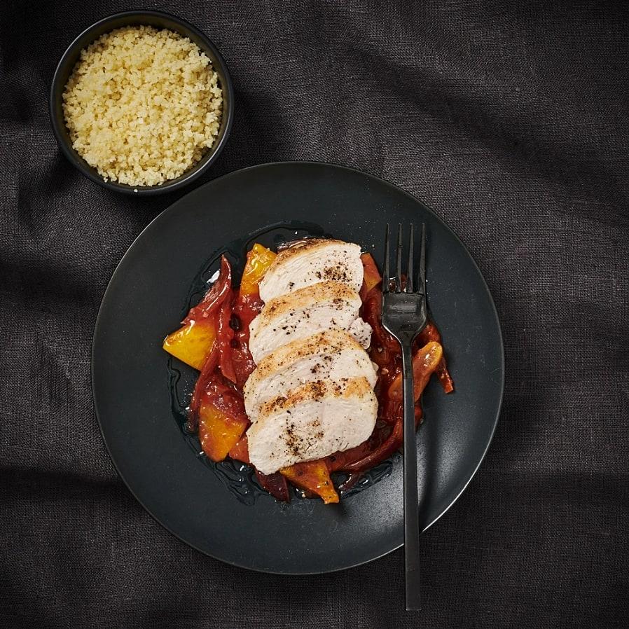 Kryddig kyckling med sötstark paprikasås
