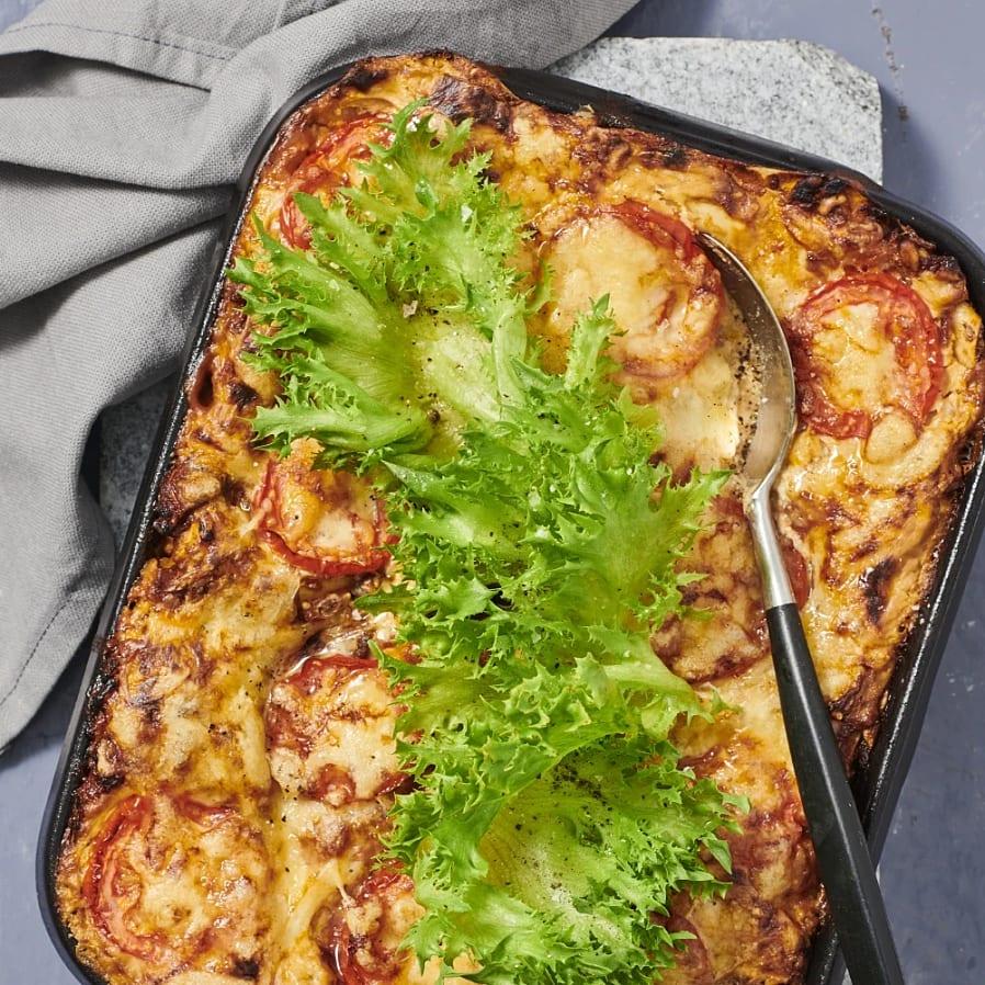 Lasagne med svamp och solrosfrön
