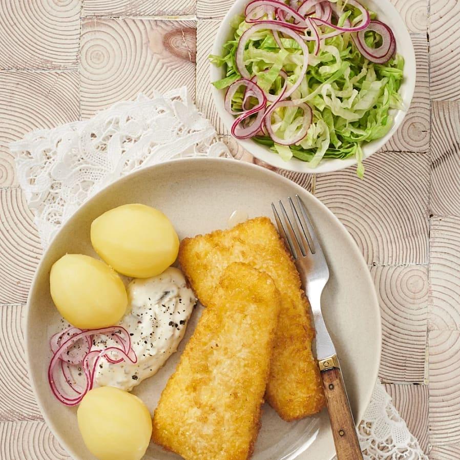 Sprödbakad torsk med gurkröra