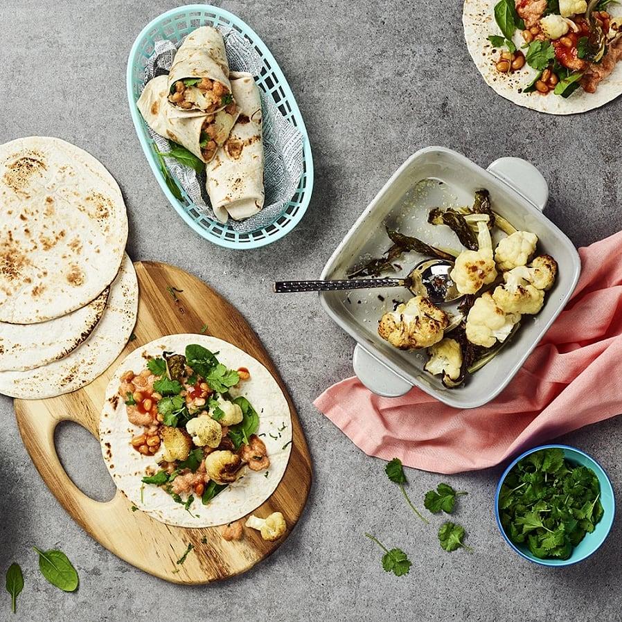 Burritos med vita bönor och indiska smaker