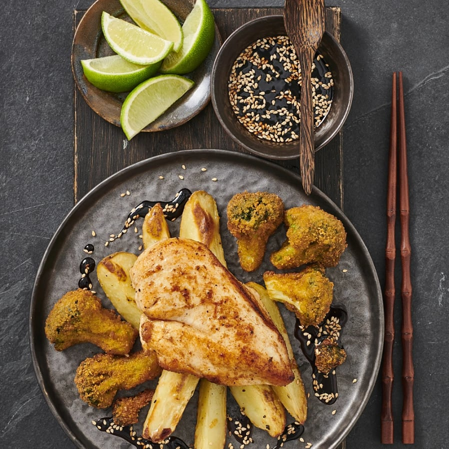 Kycklingfilé med soja- och limedipp