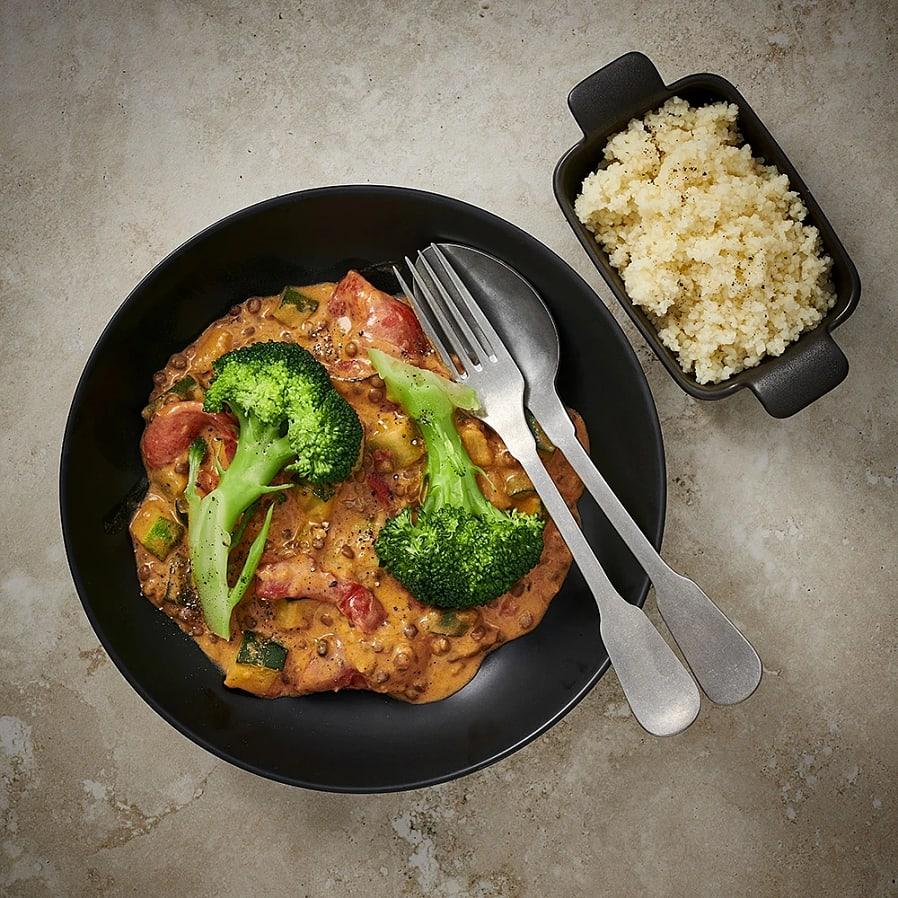 Lins- och zucchinigryta med paprika
