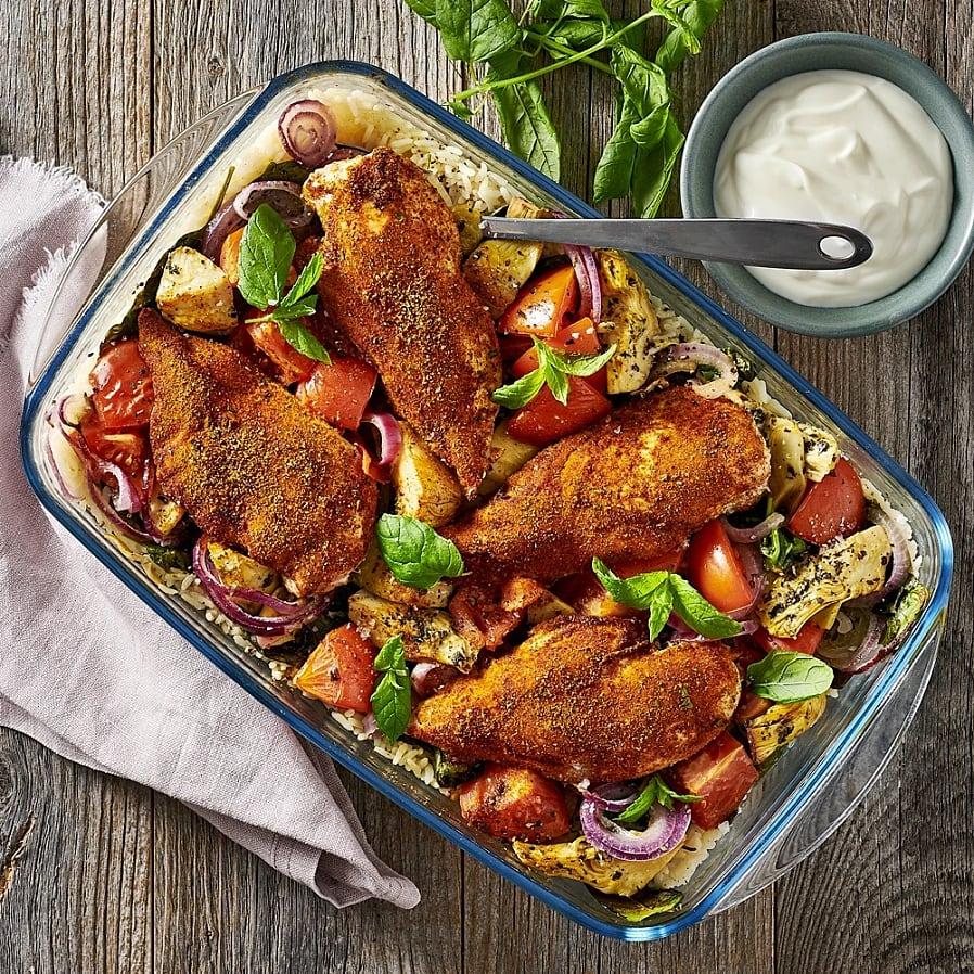 Allt i en form - Tikka masala kyckling med ris
