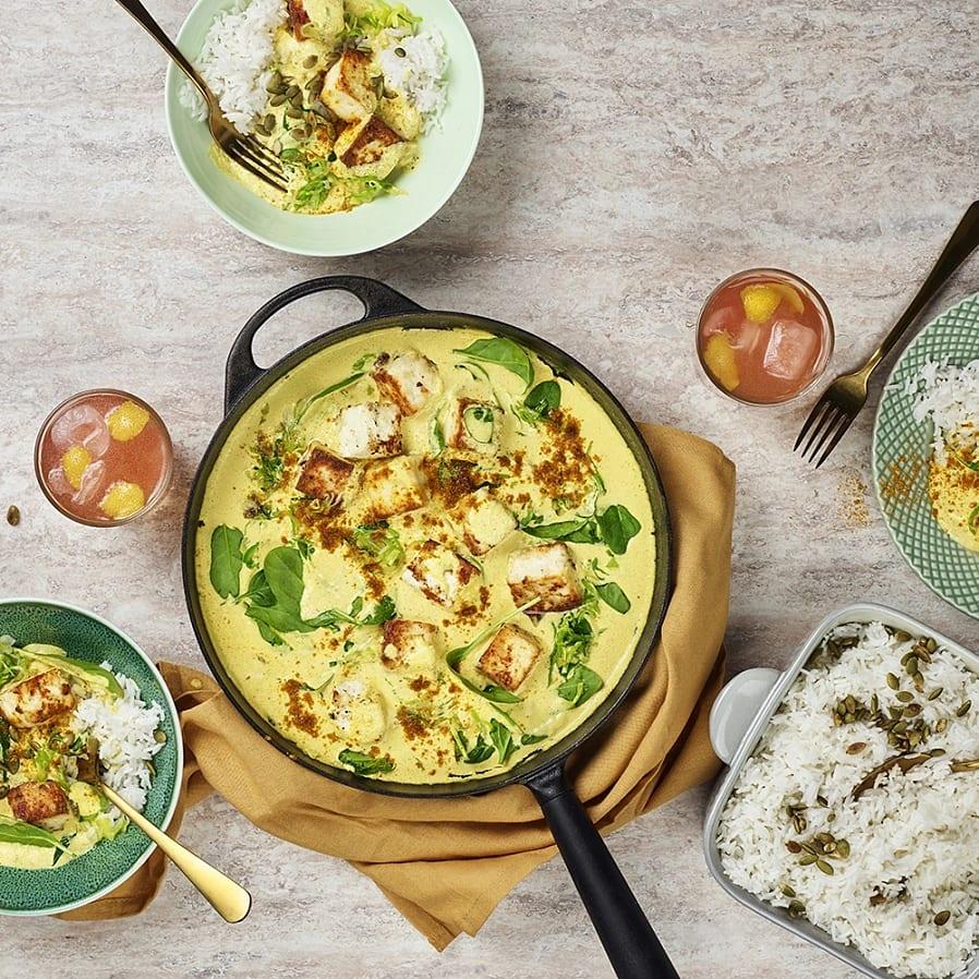 Panéer med curry och spenat