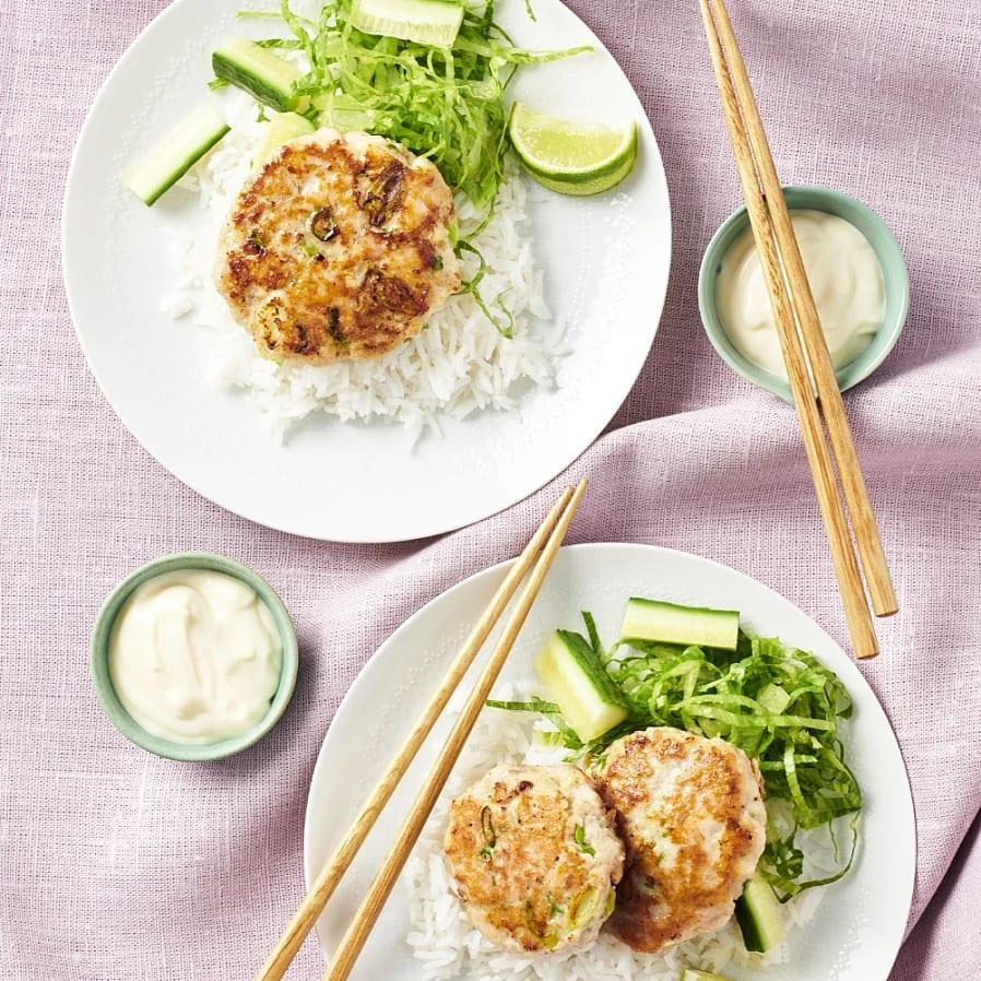 Asiatiska fiskbiffar med limemajonnäs