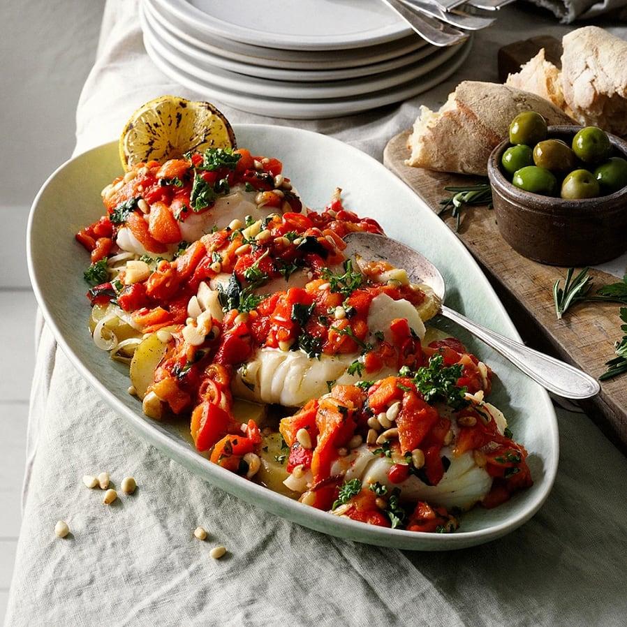 Torsk med rostad paprika, vitlök och chili