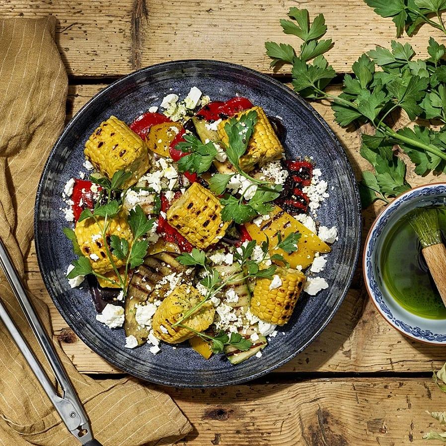 Grillade grönsaker med fetaost