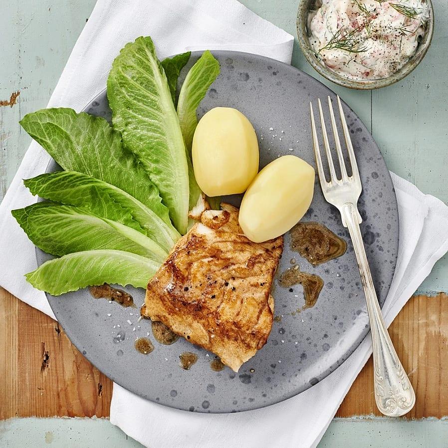 Stekt torsk med kräftröra och dill