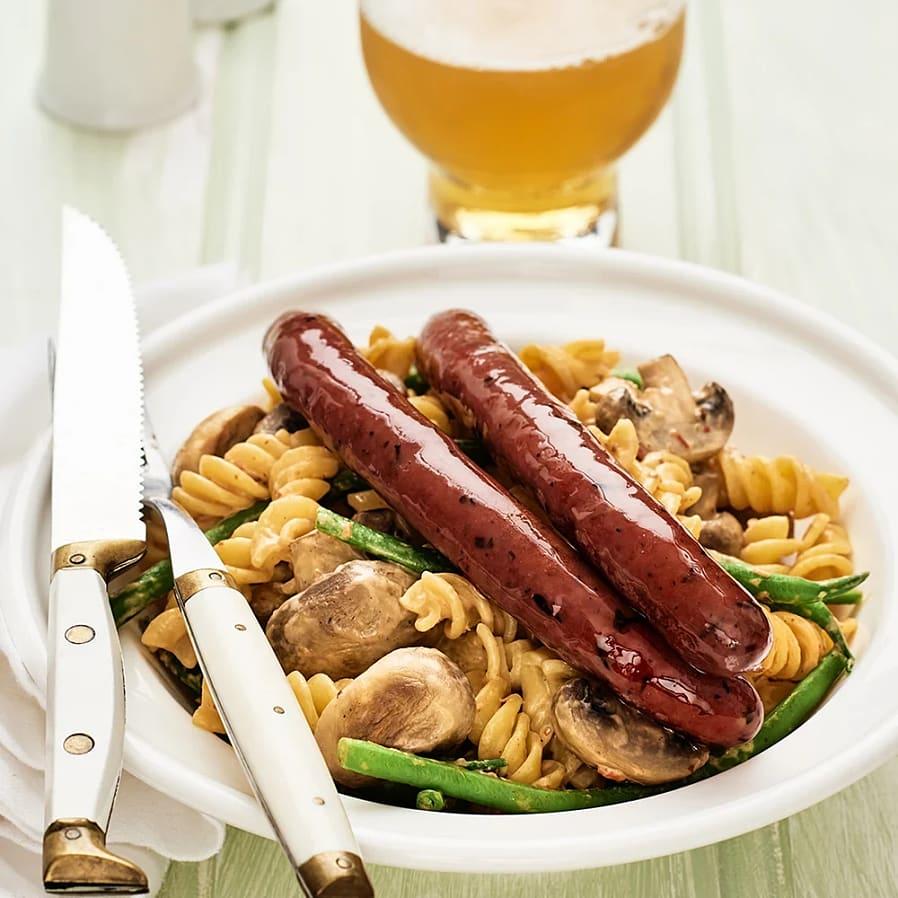 Lammkorv med champinjoner, haricots verts och pasta