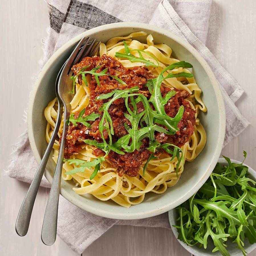 Köttfärssås med tomatpesto