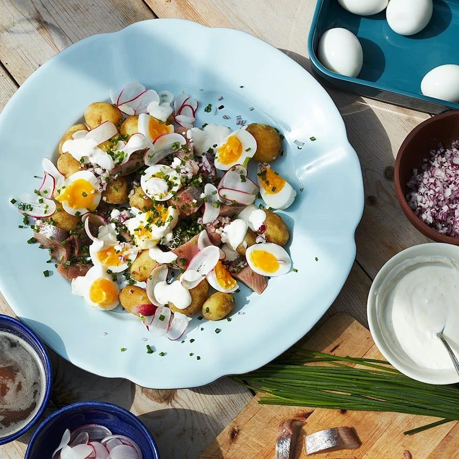 Matjessill med krämigt ägg, citronkräm och brynt smör
