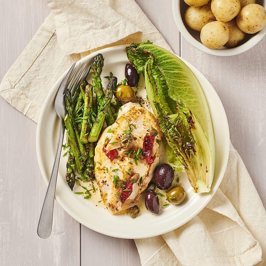 Vitlöksstekt kyckling med sparris