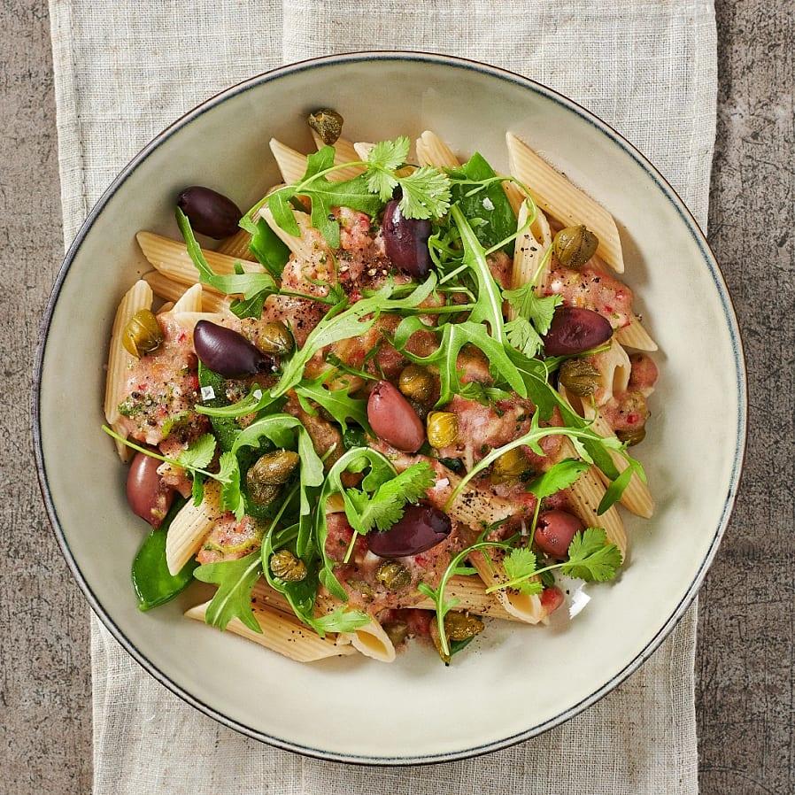 Ljummen pasta pebre med oliver