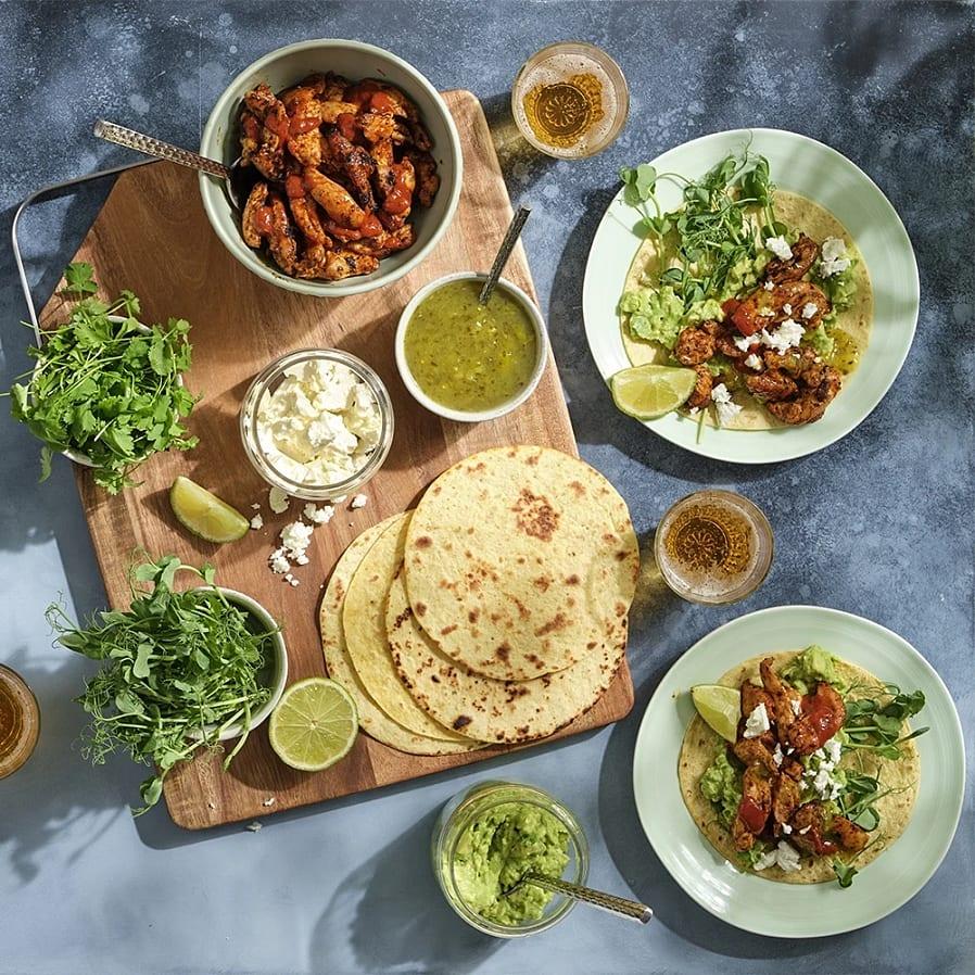 Kyckling texmex med tortilla och avokado