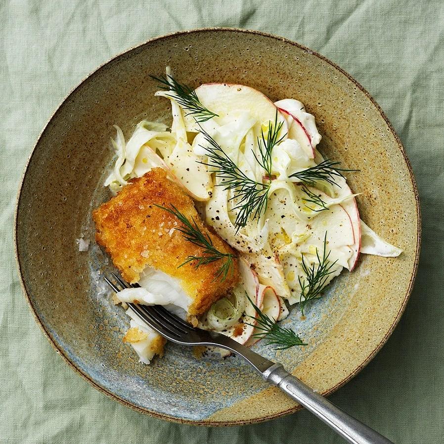 Fänkål- och äppelslaw med krispig torsk