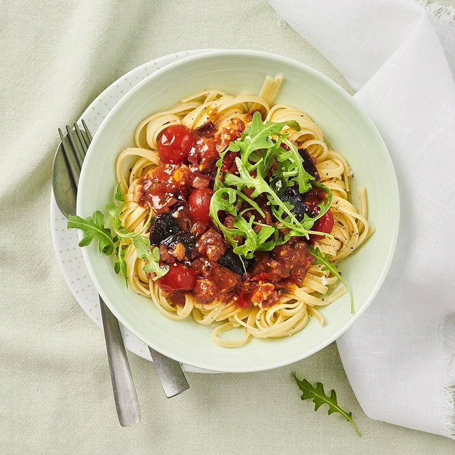 Pastapancetta med rosmarin och aubergine