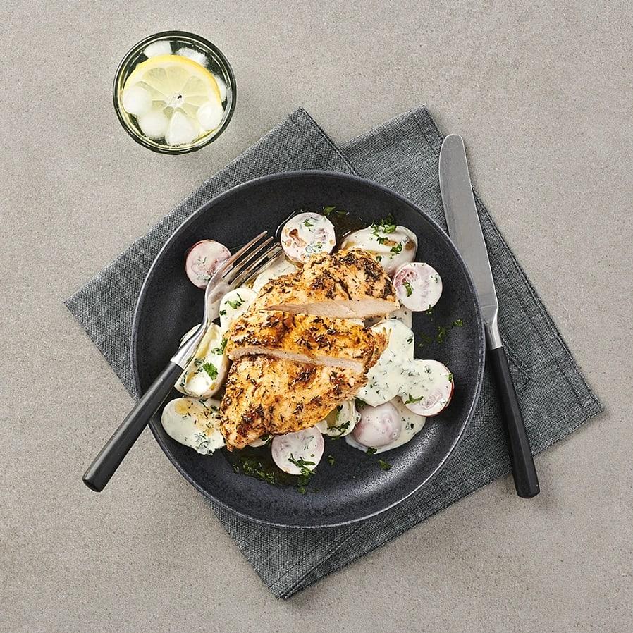 Kycklingfilé med krämig vitlökspotatis