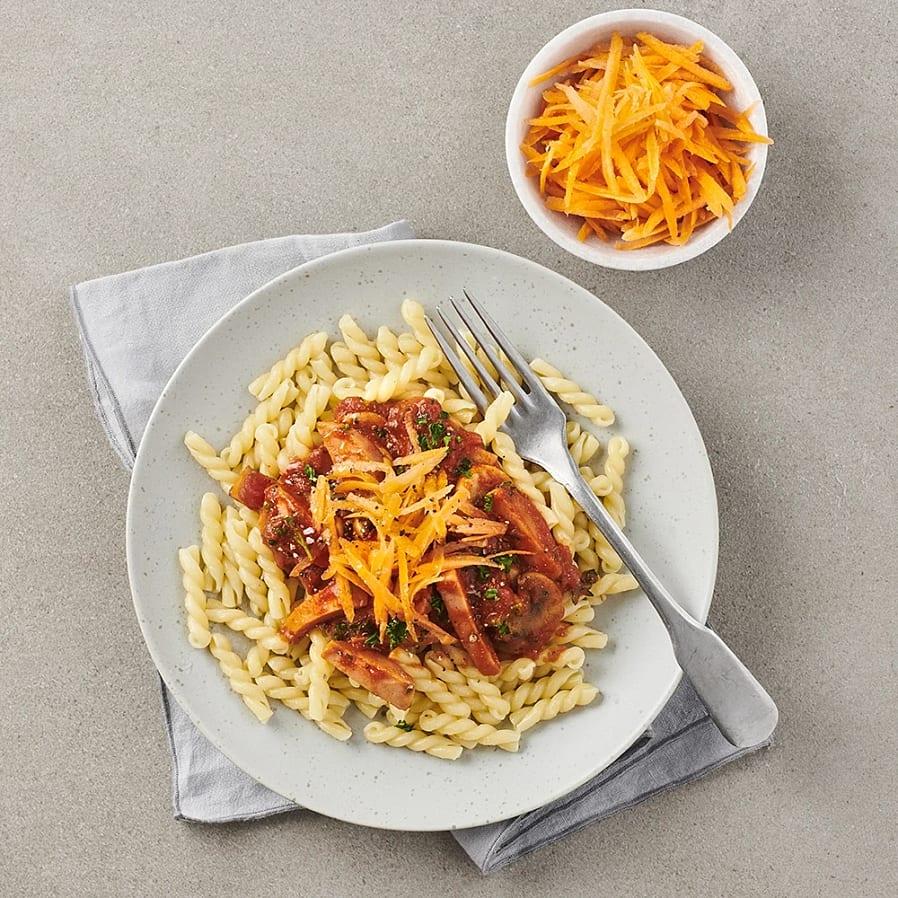 Svampstroganoff med pasta