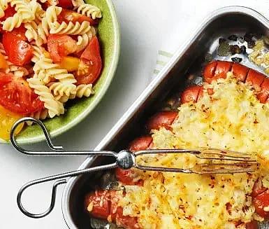 Ostgratinerad chorizo med pastasallad
