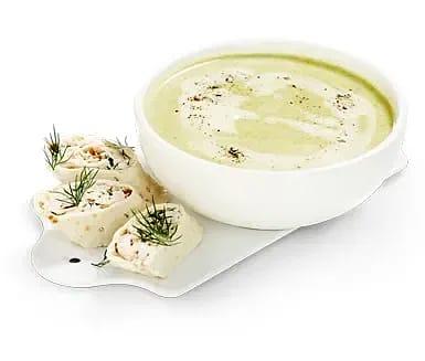 Broccoli och ostsoppa med räkklämma