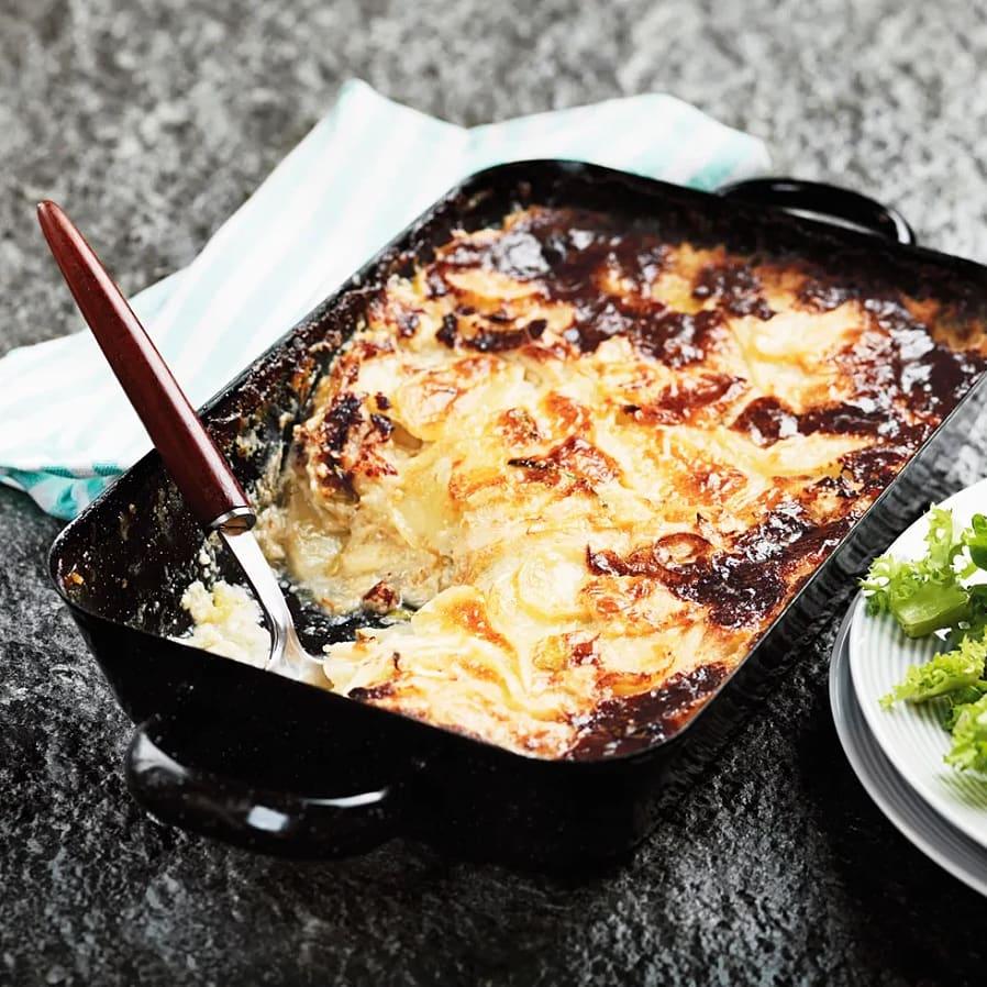 Potatisgratäng med gorgonzola och päron
