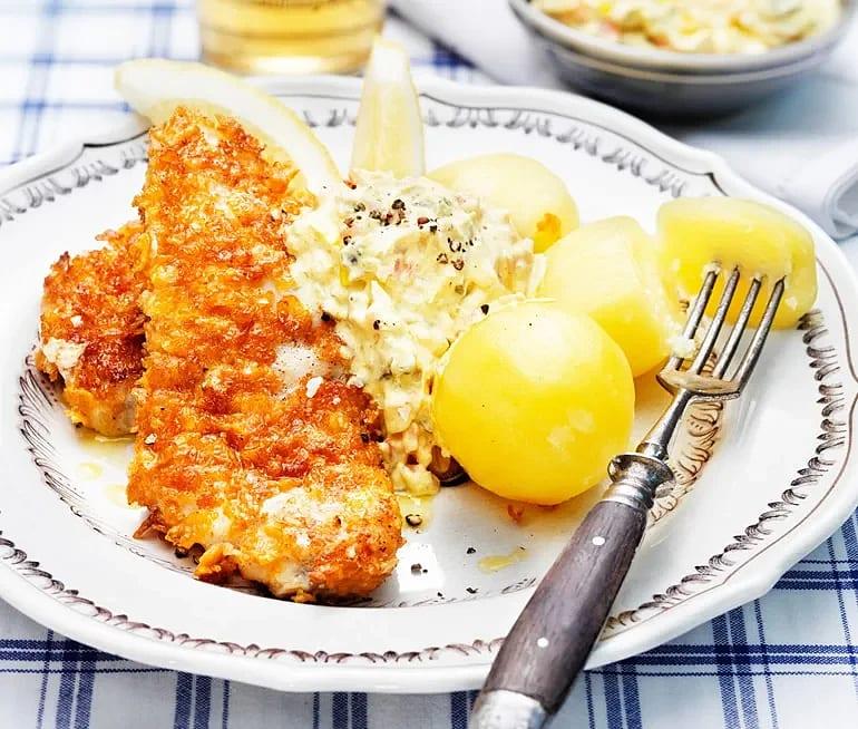 Cornflakespanerad torsk med remouladsås