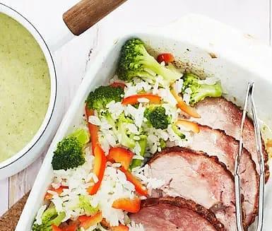 Kassler med broccoli och grönsaksris