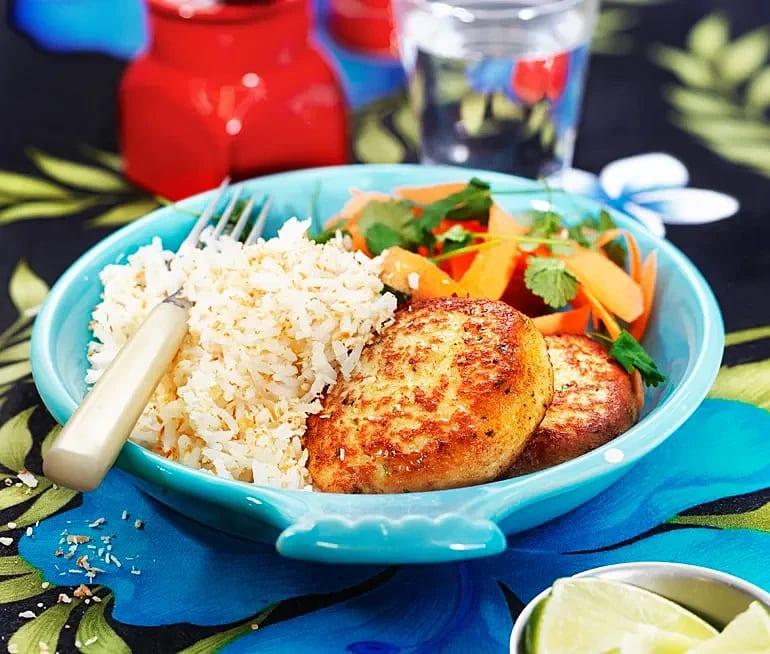 Fishcakes med morotssallad och kokos