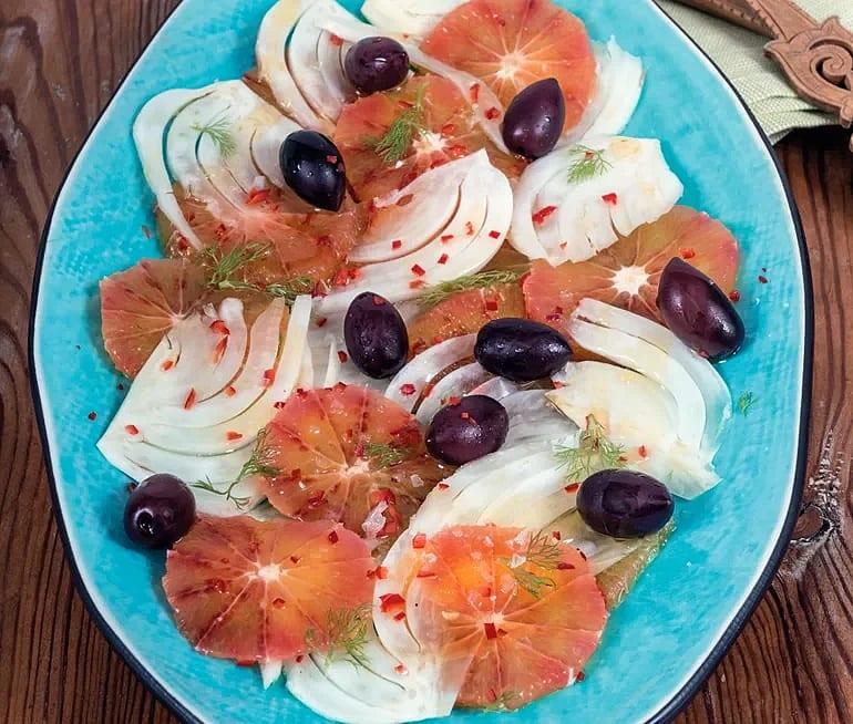 Fänkål med oliver och blodapelsin